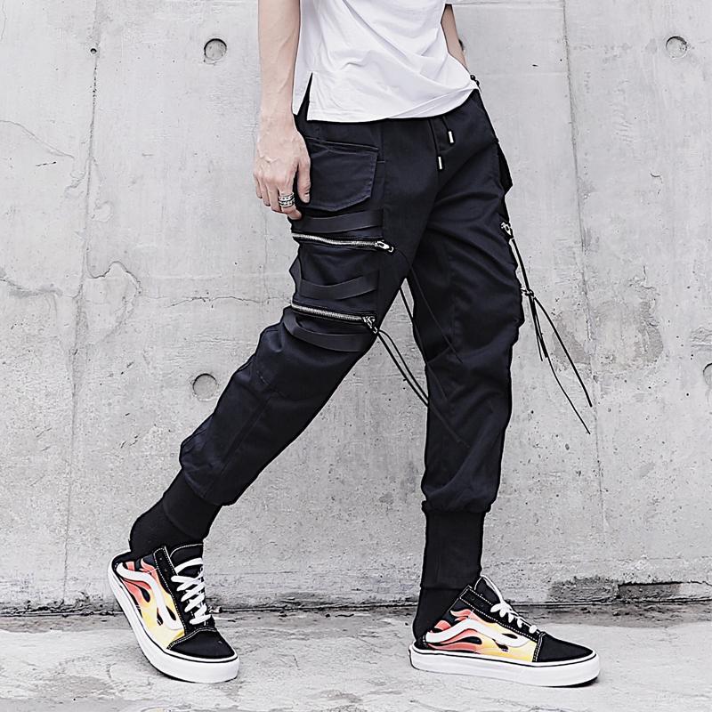 Ribbon Multi-Zipper Knitted Thread Skinny Harem Pants Men's Multi-pockets Trend Slim Fit Youth Nightclub Casual Pants Fashion