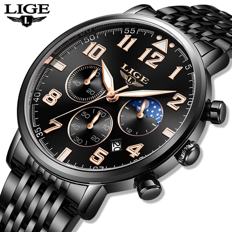 Mens Watches Clock Business Waterproof Relogio Masculino Luxury Quartz Sport Black Top-Brand