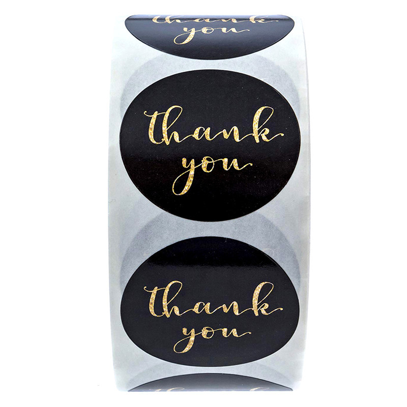 500pcs/roll Gold Foil Thank You Stickers for seal labels 1 inch gift Packaging Stickers Birthday Party offer stationery sticker 4