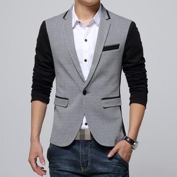 Autumn Fashion Suit Jacket Men Tops Mixed Color Slim Single Button Casual Business Blazer Jaqueta Pocket Male Coats Plus Size