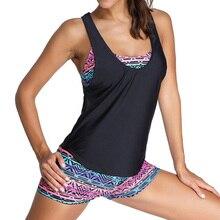2021 Tankini 2 Bộ Đồ Bơi Nữ Bikini Kèm Áo Vest Đồ Bơi Nữ Plus Kích Thước Đẩy Lên Áo Tắm Maio Đi Biển Họa Tiết người Tắm