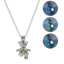 2019 Hot Sale Silver Chain Luminous Stone Necklace Glow in the Dark Pendant Necklaces Man Women Classic Bear Shape Jewelry silver link luminous stone pendant necklace long chain moon pendant glow in dark hollow women necklace pendants jewelry