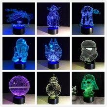 Star War Death Darth Vader Master Yoda Jedi Leader 3D led lamp 7 Colors change Gradient kids sleep Night Light Xmas Gifts