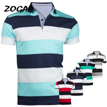 Zogaa 2019 New Summer Casual Polo Shirt Men Cotton Breathable High Quality Striped Printed Male Short Sleeve Polo Shirt 2019 autumn winter harmont men polo high quality striped polo shirt fashion casual long sleeves solid polo shirt brand clothing