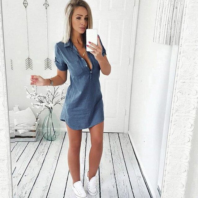 Denim Solid  Short Sleeves V-neck  Casual Turn Down Collar shirt Dress 4
