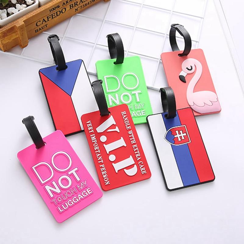 Cartoon Flamingo Silica Gel Luggage Tags Holder Baggage Boarding Tag Cute Suitcase ID Address Portable Label Travel Accessories