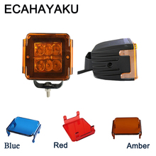 ECAHAYAKU 2 pieces 3 Inch Led Work Light with Amber red Blue Cover 18w Flood Beam fog Pod Lamp Off-road Truck ATV Bumper 12V 24V