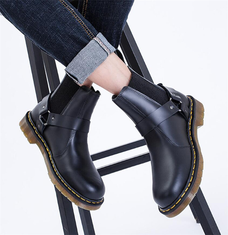 Black Cow Leather Buckle Ankle Boots Men Flat Sole Square Heel Chelsea Bootee 2019 Man Autumn Male Spring Shoes Big Size 48