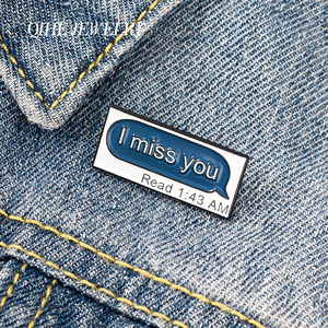 QIHE JEWELRY Message Dialog Enamel Pins 'I miss you' Brooches Badges Lovers Cute Pins Fashion Gifts for Friends Wholesale