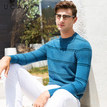 все цены на UCAK Brand 100% Merino Wool Sweater Men Casual Striped O-Neck Pullover Men Autumn Winter Warm Cashmere Sweaters Pull Homme U3072 онлайн