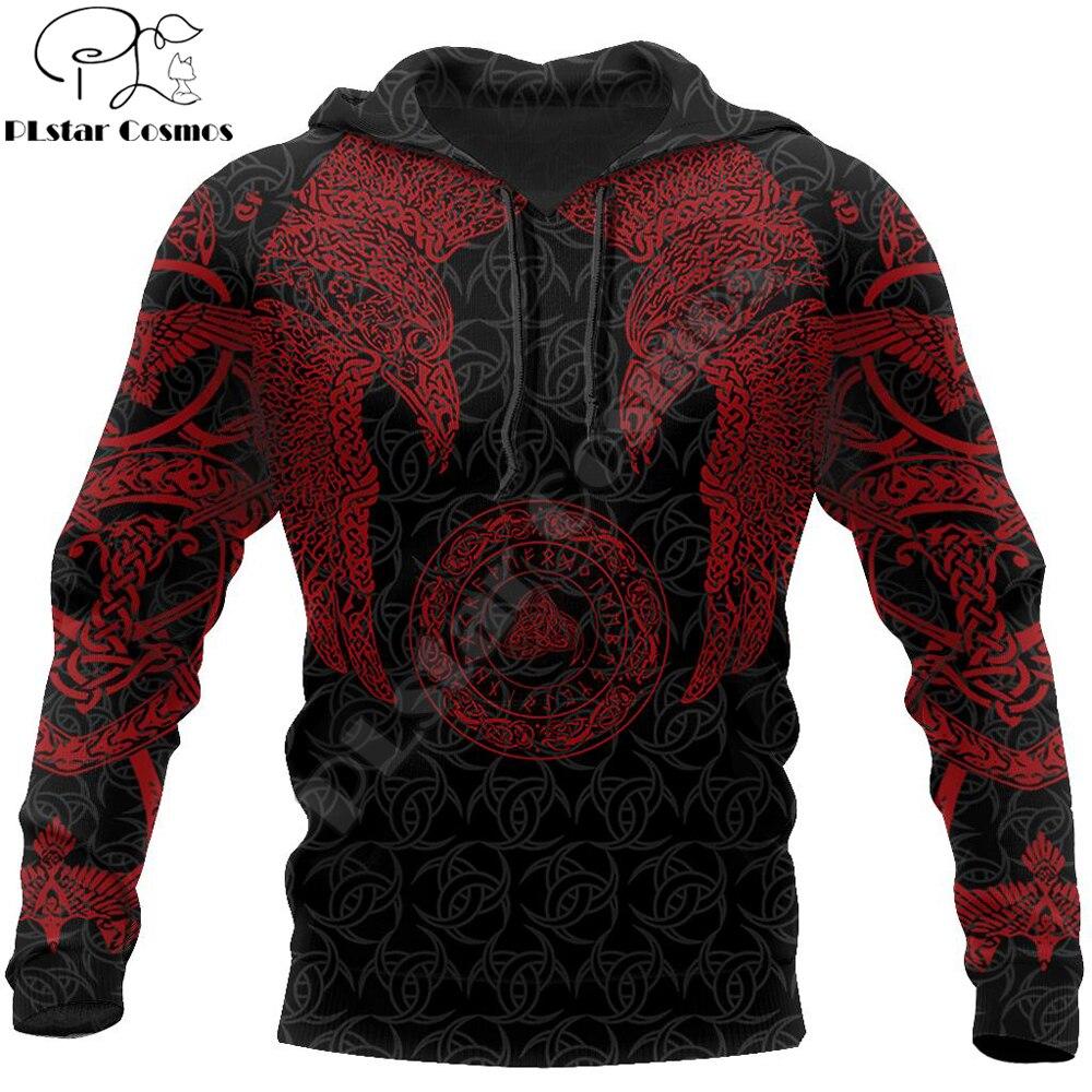 Viking Munin Tattoo Style Hoodie for Men and Women Harajuku Fashion hooded Sweatshirt Viking Raven Casual Jacket pullover DW0032