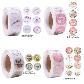 500pcs/roll Thank You Stickers Floral Seal Labels Gift Sticker For Package Scrapbooking Wedding Christmas Party Decor Supplies