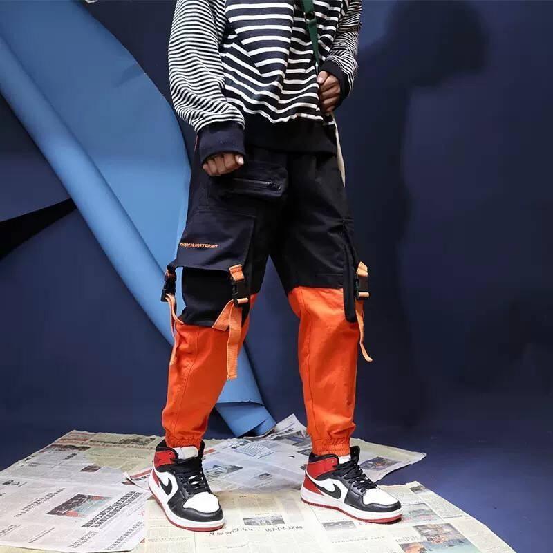 Patchwork Casual Cargo Pants Sweatpants Trousers Men Work Long Sweat Male Loose Pockets Blue Pants Fashion Hip Hop Parkour Pants