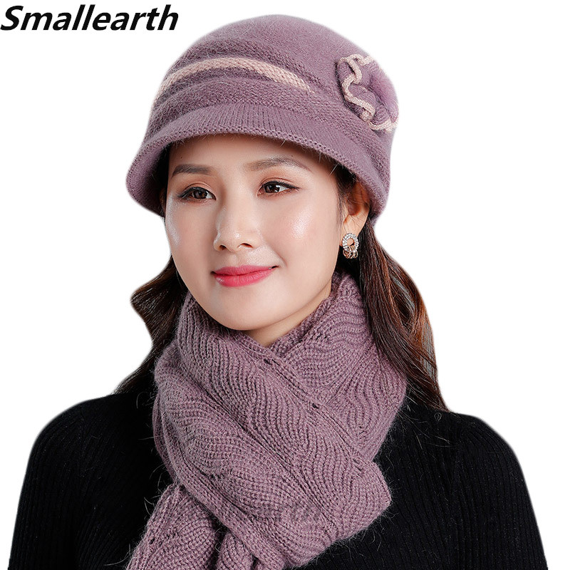 Women Rabbit Fur Hat Wool Knitted Scarf Set Lady Winter Hats Thick Plus Velvet Hat Scarf Set For Women Mother Scarves Cap 2pcs