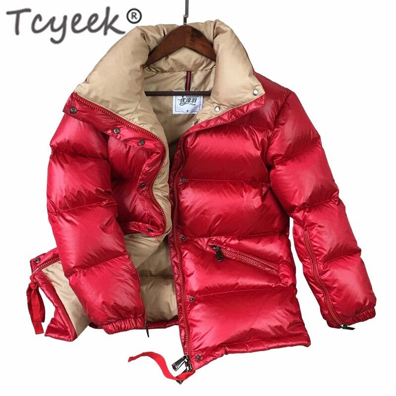 Tcyeek 2019 Women's Down Jacket 90% White Duck Down Jackets Fashion Winter Short Coats Casual Abrigos Mujer Outwear Hiver Y1802
