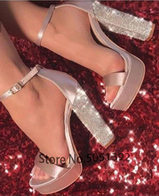 Sandals Platform Glitter Heel Woman Open Toe High Shoes Square Bling Crystal Dress Party Club Shoe