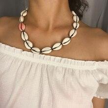 Salircon Bohemian Sea Shell Pendant Chain Necklace Multi Optional Blue pink Personality Soil Powder Women Jewelry