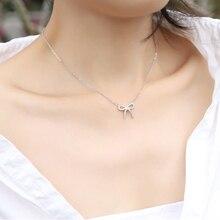 Trendy 925 Sterling Silver Jewelry Women O-chain Necklaces Zircon Cute Bow Penda