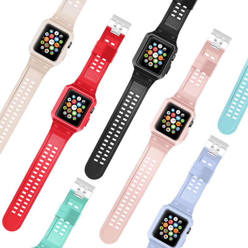 New Style Apple Watch Strap Silica Gel APPLE Watch3 Metal Frame Protective Case Connector Wrist Sports Breathable