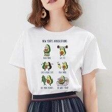 WVIOCE New Summer Women Kawaii Print Avocado Tshirts Cute Shirts Haut Femme Plus