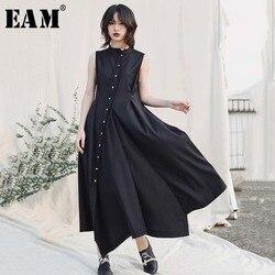 [EAM] Women Black Button Irregular Shirt Dress New Stand Collar Sleeveless Loose Fit Fashion Tide Spring Summer 2020 1W431