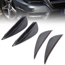 4pcs Universal ABS Car Front Bumper Fins Lip Canards Splitter Kit Black Styling Mouldings