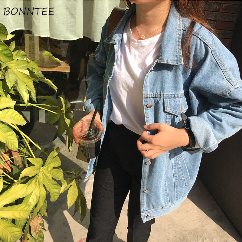 Jackets Women Retro Solid Denim Loose Turn-down Collar Pockets Womens Jacket Leisure All-match Trendy Korean Style Chic Simple