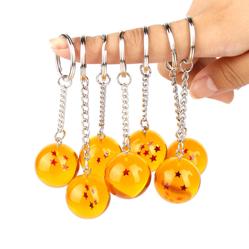 Anime Dragon Goku Ball Super Keychain 3D 1-7 Stars Cosplay Crystal Ball Key Chain Collection Toy Gift Key Ring