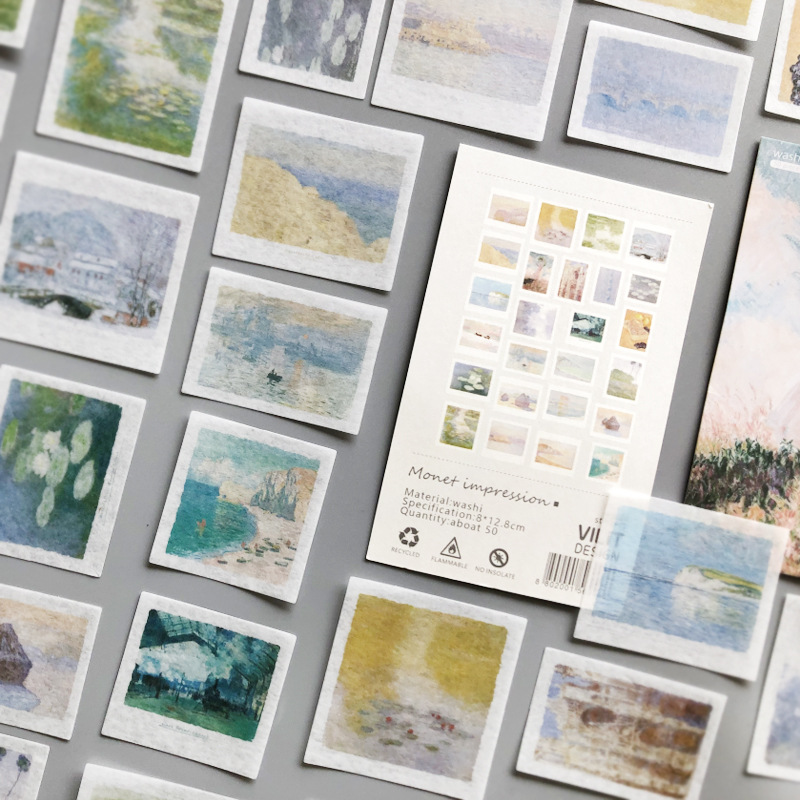 Autocollant Washi pour peinture, Impression, papeterie décorative, Scrapbooking, DIY bricolage, 50 pièces/ensemble Monet