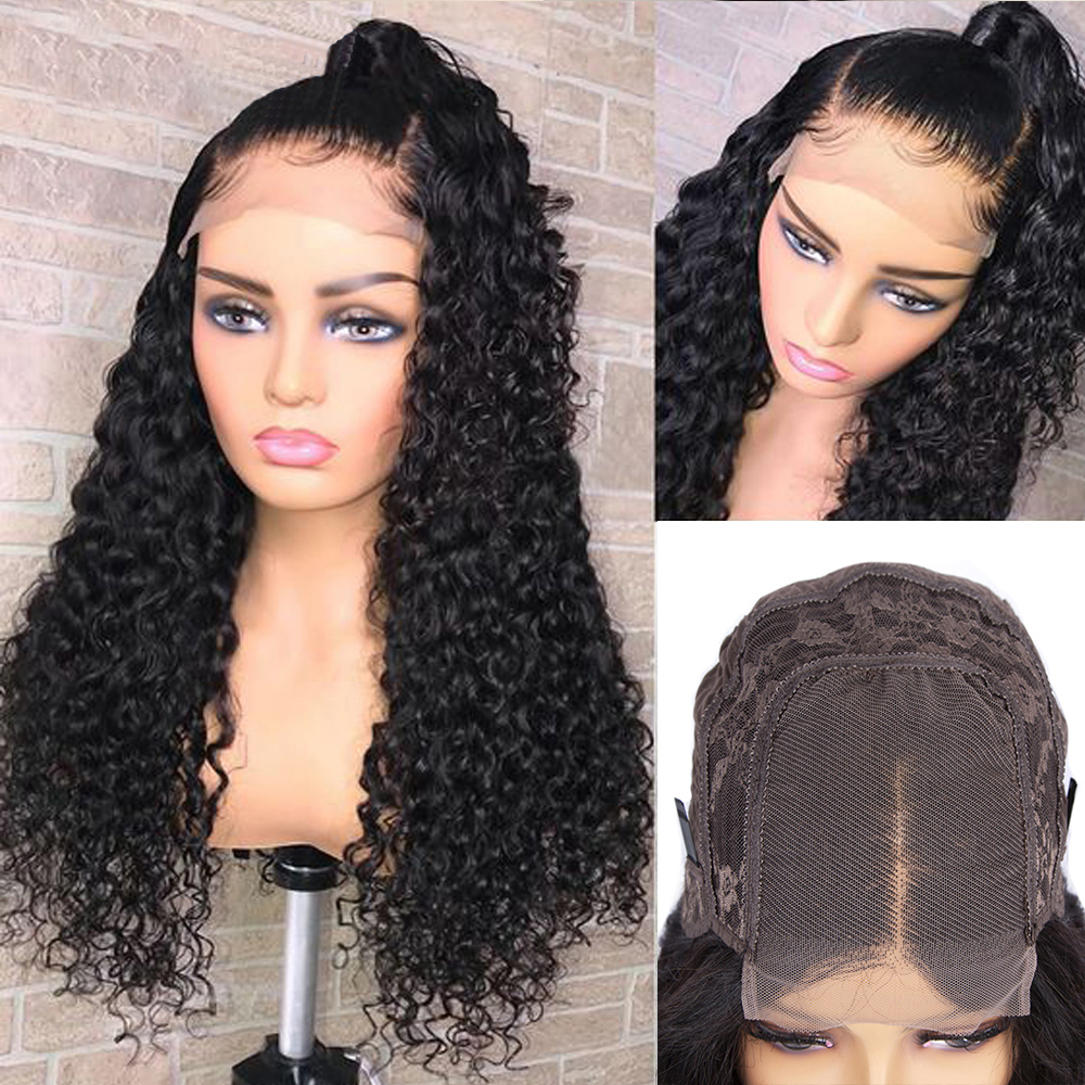 Deep Wave Closure Wig  Lace Frontal Wigs 150 Lace Front Wig Pre Plucked Bleached Knots Wigs  4x4 Frontal Lace Wig 1