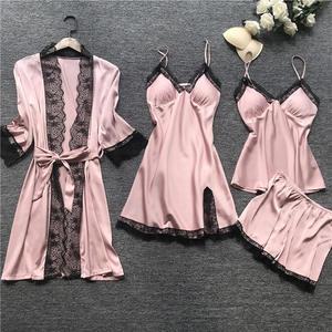 SFIT Sleepwear Nightwear Pajamas-Sets Lounge-Pijama Chest-Pads Lace Silk Women 4pieces