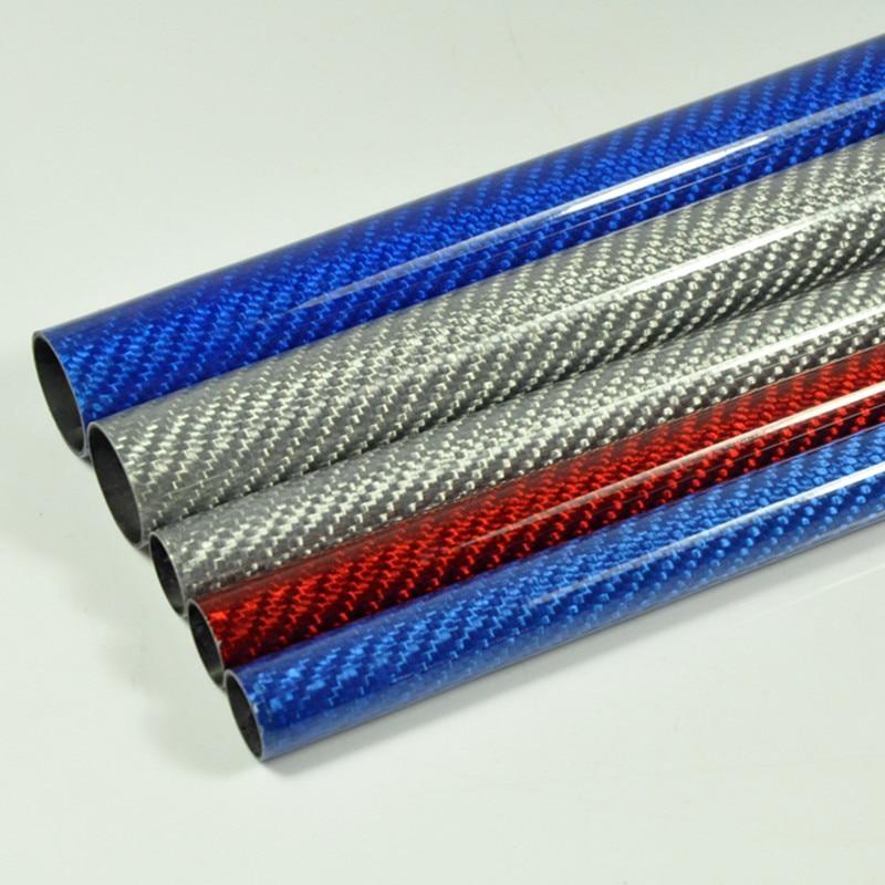 2Pcs/lot 500mm Carbon Fiber Tube 3K Glossy Surface Blue Red Silver Diameter 10mm 12mm 14mm 16mm 18mm 20mm 22mm 24mm 26mm 28mm