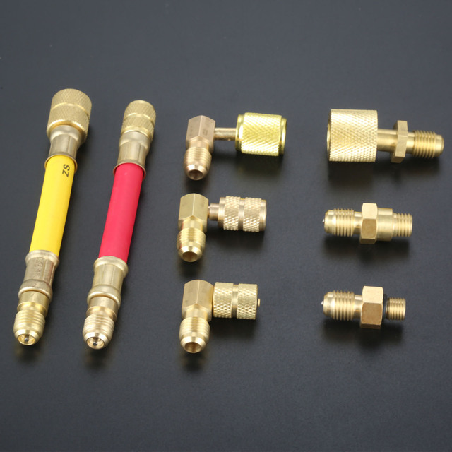 Adaptador de refrigeración para aire acondicionado, juego de manguera de conector, accesorios para coche, R134A R12 A/C, 8 Uds.