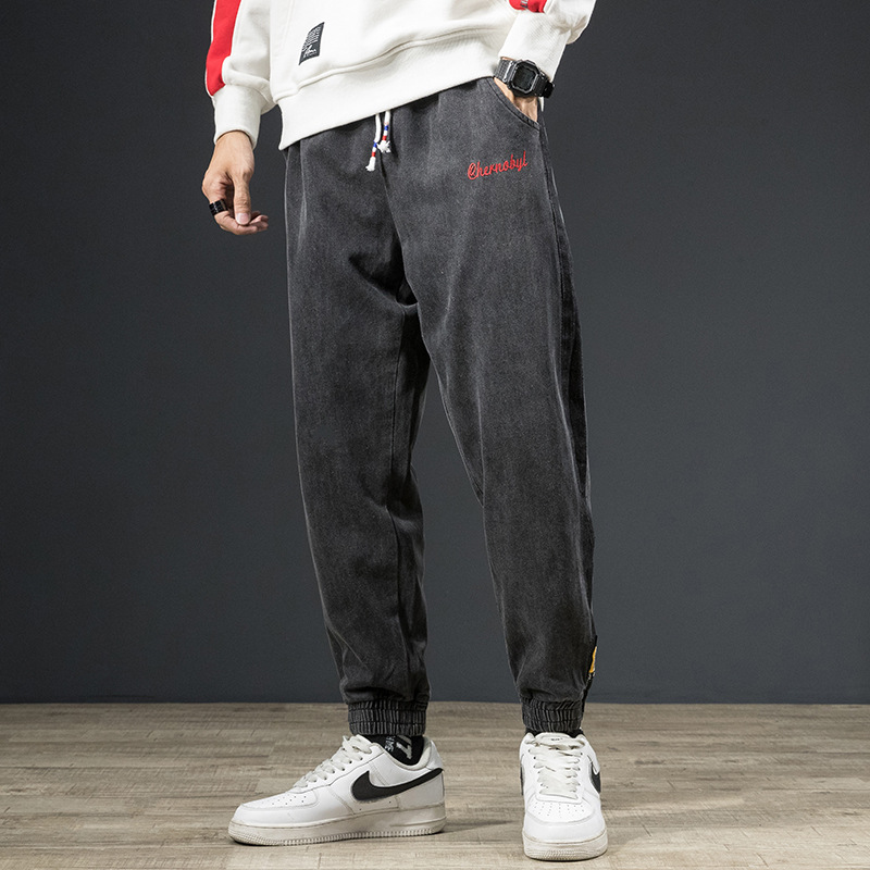 Autumn And Winter New Style Men's Elastic Black And White With Pattern Harem Jeans Ankle Banded Pants Trend Loose-Fit Beam Leg H