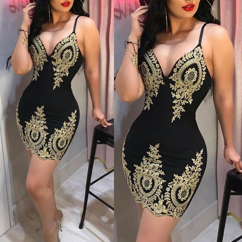 Women <font><b>Sexy</b></font> V-Neck Sleeveless Bodycon Every Party Cocktail ClubLadies <font><b>Retro</b></font> Chic Bodycon Empire Appliques Mini <font><b>Dresses</b></font> Clubwear image
