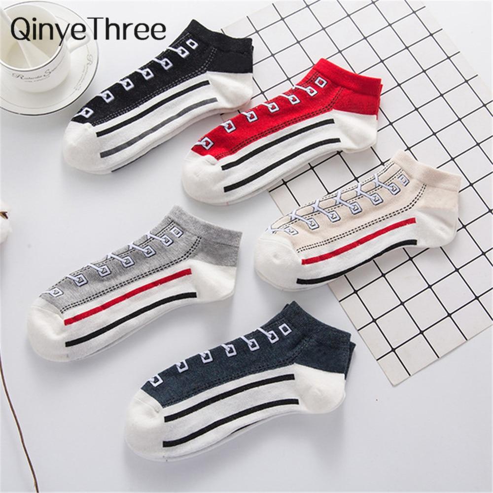 Happy Funny Art Canvas Shoes Patterned Socks Men's Summer Fashion Socks Stripes Art Hipster Vintage Couples Short Ankle Socks