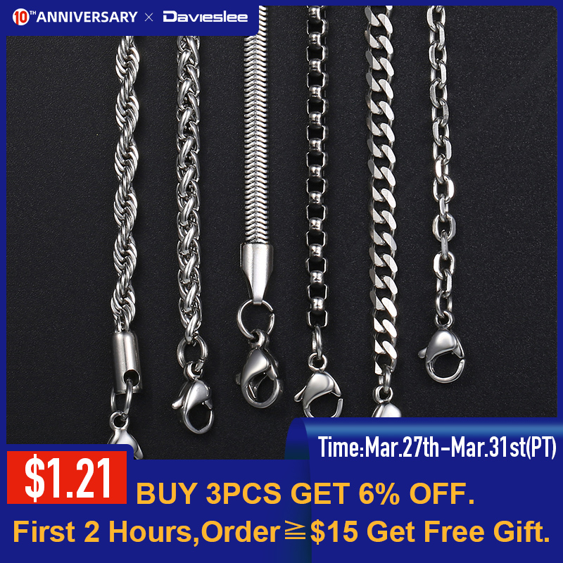 Davieslee Chain Necklaces For Men Stainless Steel Silver Color Rolo Wheat Box Snake Chains Mens Necklace 3mm 18-26inch LKNN1