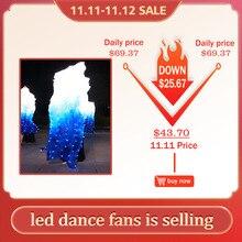 Led משי מאוורר רעלה ריקודי בטן מאוורר רעלות משי LED מופע אור לבן כחול אבזר אביזרי ריקודי בטן שלב ביצועים
