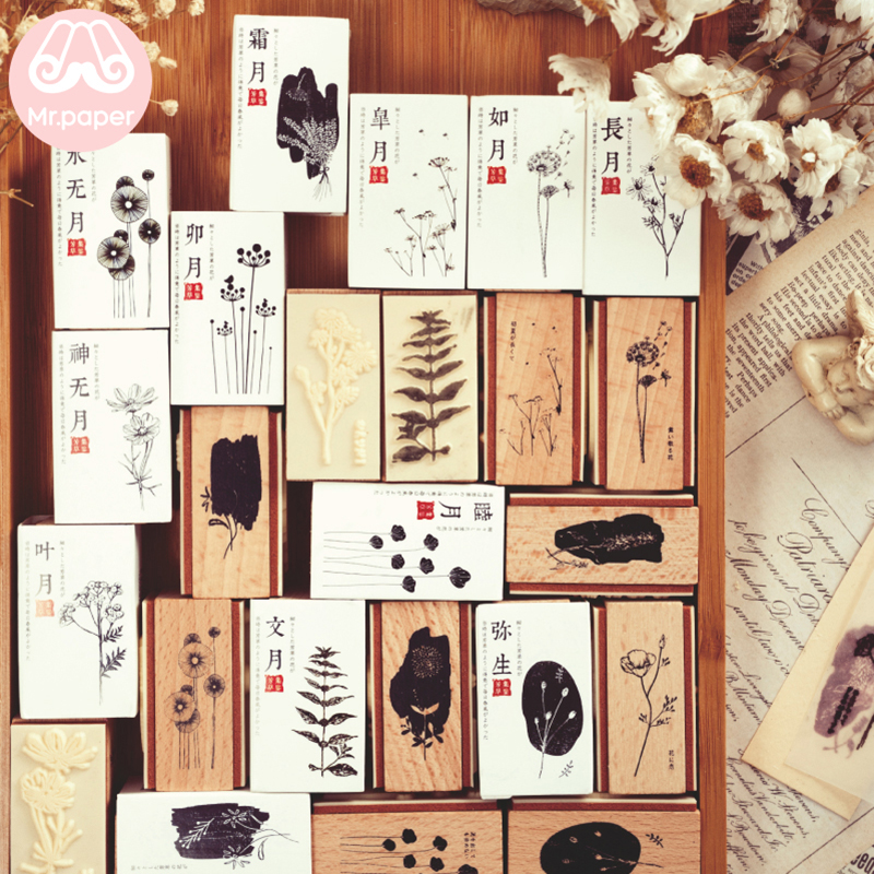 Mr Paper 12 Designs Japanese Plant Collections Double Side Wooden Rubber Stamp For Scrapbooking Decoration Standard Wooden Stamp