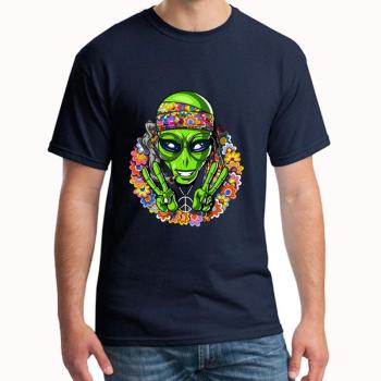 Custom Hippie Alien Peace Sign Psychedelic Space tshirt plus sizes s-5xl Formal humorous Letter gents t-shirts gift Outfit