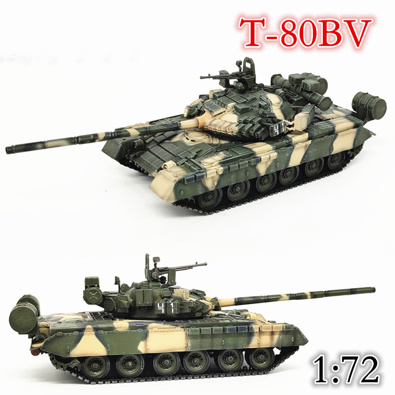 1:72  Russian Ground Forces  T-80bv Main Battle Tank Model  Three Color Camouflage Coating  Static Simulation Model