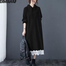 Dimanaf женское платье большого размера осенне зимнее хлопковое