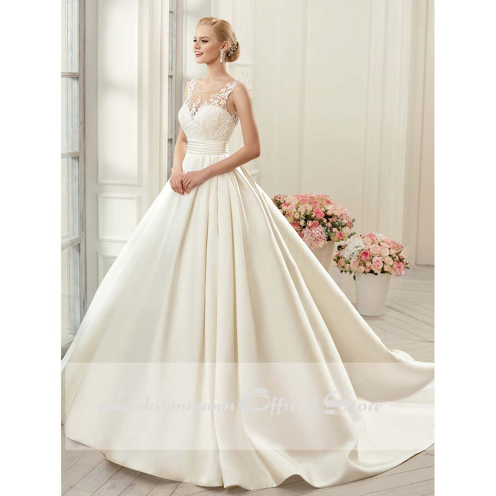 Sexy Backless Wedding Dresses 2020 Ivory Satin Chapel Train Bridal Gowns vestido noiva princesa in Wedding Dresses from Weddings Events