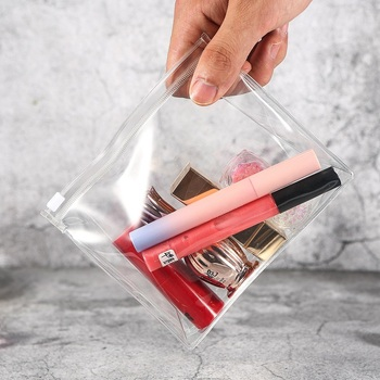 Wholesale Small Cheap PVC Transparent Clear Zipper Cosmetic Bag Makeup Stand Up Pouch Make Bags Promotional Gift Organizers
