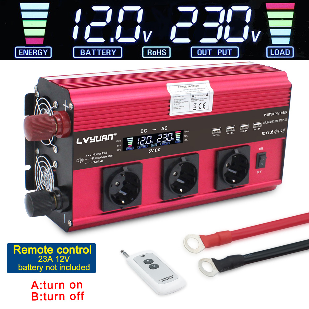 12000W Power Inverter DC 12V To AC 220V 230V Converter Supply Solar Power LCDscreen 4USB 4FAN With Remote Control 3AC EU Socket