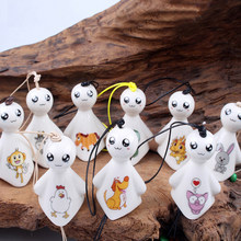 Ceramic Windchimes Sunny Dolls Pendant Wind Chimes Car Ornament Hanging Miniature Figurine Ceramic Wind Chimes Home Decoration(China)
