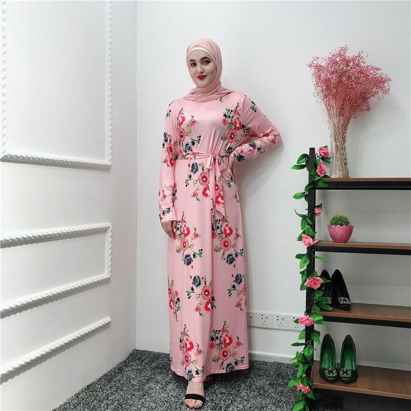 Dubai Turkey Muslim Dress Women Print Floral Big Swing Slim Maxi Hijab Dresses Islamic Lace-up Moroccan Elbise Abaya Kaftan
