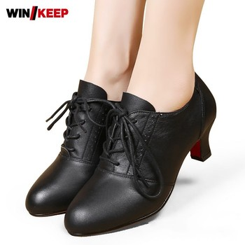 Fashion Genuine Leather Lace Up Round Toe Womens Ballroom Shoes Breathable Cowhide Thin Heel Low Help Shoes Female Dance Shoes