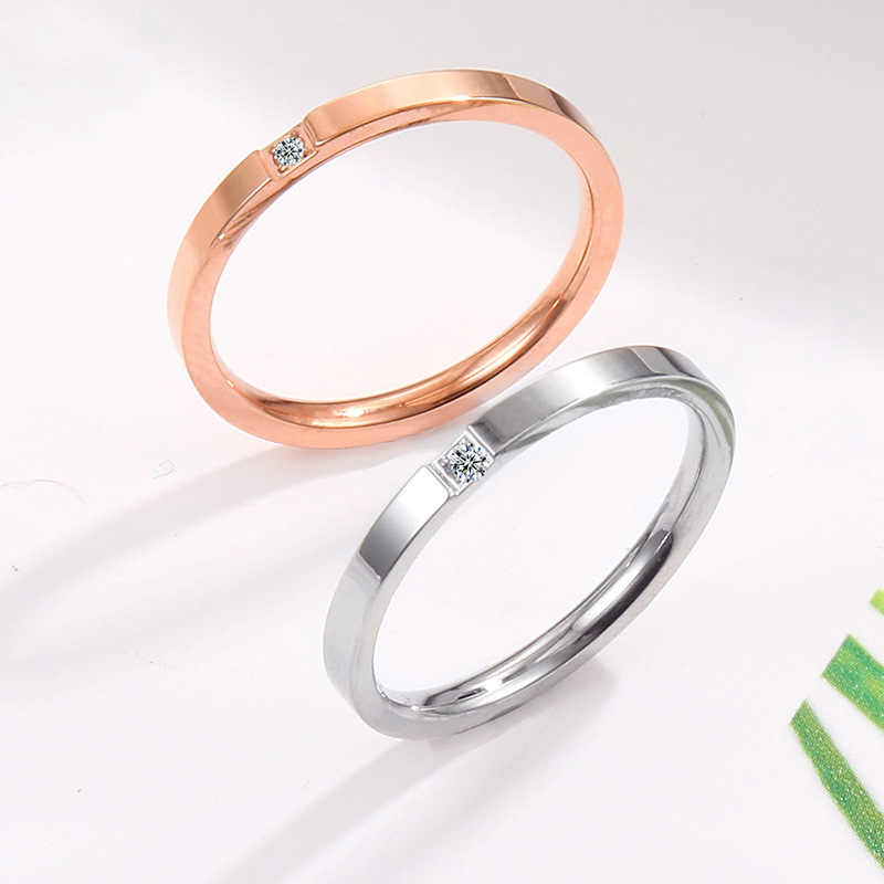 MAE Silver Rose Gold Color Round Thin Titanium Stainless Steel Zircon Crystal Rings For Women Fashion Jewelry Weding Ring