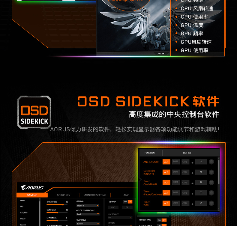 Aorus fi27q 27-Polegada e-sports display lcd 2k 165hz computador de jogo